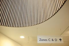 Zone c and d signage stock photo