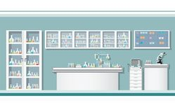 Interior of science laboratory or laboratory room. royalty free illustration