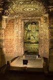 Interior sculpture of Ajanta Caves stock photos