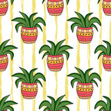 Interior seamless pattern. Cartoon flowers in pots. Vector background for wrapping, wallpaper and socks design. Interior seamless pattern. Cartoon flowers in royalty free illustration