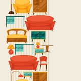 Interior seamless pattern with furniture in retro Royalty Free Stock Photography