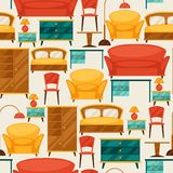 Interior seamless pattern with furniture in retro Stock Image