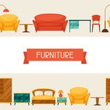 Interior seamless pattern with furniture in retro Royalty Free Stock Images