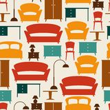 Interior seamless pattern with furniture in retro Stock Photography