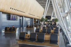 Interior Seating Area of Kloten Airport in Zurich, Switzerland. ZÜRICH-FLUGHAFEN, SWITZERLAND - JANUARY 12, 2016 - Zürich Airport, also known as Kloten Airport Stock Photos