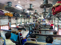 Interior of second class train car in Rajasthan, India Stock Photography