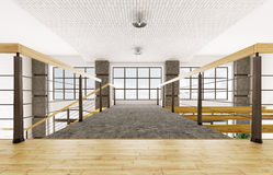 Interior of second floor of loft apartment 3d rendering Royalty Free Stock Photo