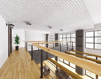 Interior of second floor of loft house 3d render Royalty Free Stock Images
