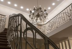 The interior of the second light stairs, railings chandelier stock images