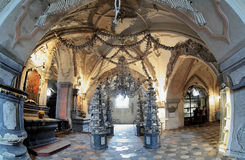 Interior of the Sedlec ossuary, Czech Republic. Interior of the Sedlec ossuary (Kostnice) decorated with skulls and bones, Kutna Hora, Czech Republic stock images