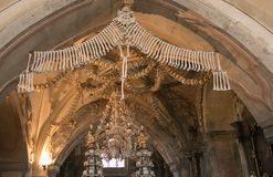 Interior of the Sedlec ossuary Kostnice decorated with skulls and bones, Kutna Hora Stock Photo