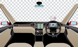 Interior of self driving car with navigation, main and head up displays. Stock Photography