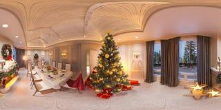 Interior sem emenda do Natal do panorama 360 com uma chaminé ilustração 3d de um design de interiores em um estilo clássico Ilustração Stock