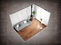 Interior sem paredes rendição 3d Imagem de Stock Royalty Free