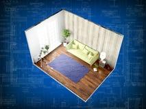 Interior sem paredes rendição 3d Foto de Stock Royalty Free