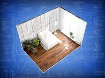 Interior sem paredes rendição 3d Imagem de Stock