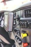 Interior semi do táxi do caminhão imagem de stock