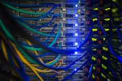 Interior of server with wires blue Royalty Free Stock Photo