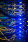 Interior of server with wires blue. Close up in data center Royalty Free Stock Photography
