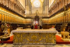 Interior of Seville Cathedral Royalty Free Stock Photos