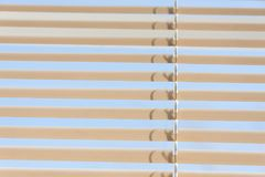 Interior Shades with Blue Sky. Blue sky seen through white window shades on a bright sunny day Royalty Free Stock Photography