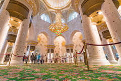 Interior of Sheikh Zayed Grand Mosque in Abu Dhabi stock images