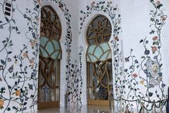 Interior Sheikh Zayed mosque in Abu Dhabi. Royalty Free Stock Image