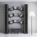 Interior with shelves for books, a table with the player and rac. Ks for discs. 3d illustration Royalty Free Stock Photo