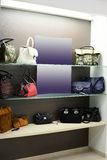 Interior of shoe bag in modern european mall. Bright and fashionable interior of bag store in modern mall Stock Photos