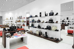 Interior of shoe store in modern european mall Stock Images