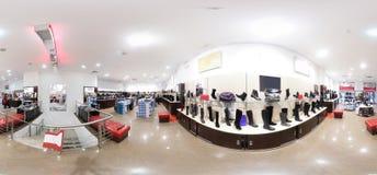 Interior of shoe store in modern european mall Stock Photos