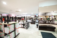 Interior of shoe store in modern european mall Stock Photography
