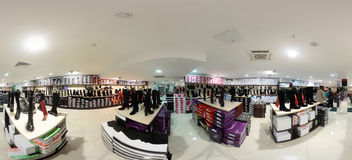 Interior of shoe store in modern european mall Royalty Free Stock Photography
