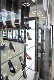 Interior of shoe store in modern european mall Royalty Free Stock Photo