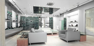 Interior of a shop. Interior of a bright shop Royalty Free Stock Photography