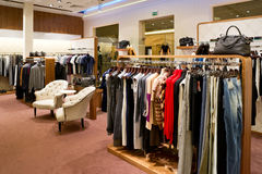 Interior of shop. Of fashionable clothes Royalty Free Stock Photos
