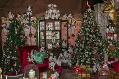Interior of shop in Arezzo with big Christmas tree and decorations. Wonderful interior of shop in Arezzo with big Christmas tree and decorations stock photos