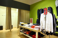 Interior of shop of clothes stock image