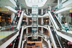 Interior of the shopping center royalty free stock photography