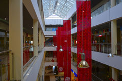 The interior of the shopping center. The interior of a shopping center in Russia stock images