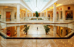 Interior of a shopping mall. Beautiful interior of a shopping mall Royalty Free Stock Images