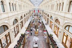 Interior of a shopping mall in Moscow. Interior of oldest russian shopping mall in Moscow Royalty Free Stock Photo