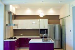 Interior shot of big modern kitchen Royalty Free Stock Image