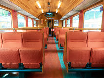 Interior shot empty railway car wagon train Stock Images