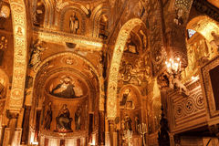 Interior Shot of the famous Cappella Palatina in Sicily Royalty Free Stock Images
