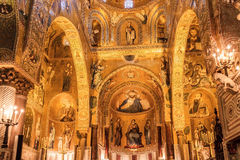 Interior Shot of the famous Cappella Palatina in Sicily Stock Photography
