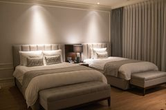 Interior shot of the guest room in Lotte Hotel Jeju stock images