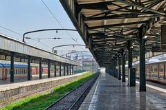 Interior shot of Haydarpasha Railway Terminal, Kadikoy, Istanbul, Turkey. Interior shot of Haydarpasha Railway Terminal featuring metal truss and two colored Stock Photography