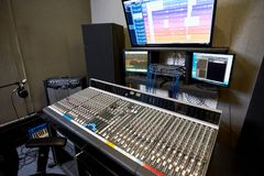Big electronic console in studio stock image