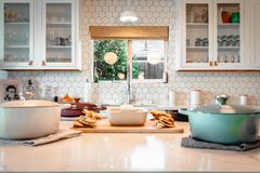 Interior shot of a modern kitchen design royalty free stock image